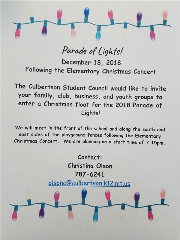 Parade of Lights! Dec 18 Following the Elementary Christmas Concert